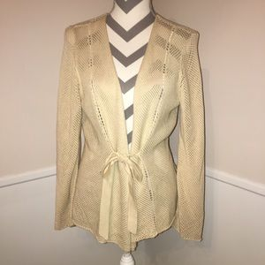 NIC & ZOE | 70% silk mesh belted front cardigan